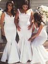 Silk-like Satin V-neck Floor-length Trumpet/Mermaid Bridesmaid Dresses #PWD01013738