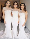 Jersey One Shoulder Sweep Train Trumpet/Mermaid Flower(s) Bridesmaid Dresses #PWD01013733