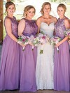 Lace Chiffon Scoop Neck Floor-length A-line Bridesmaid Dresses #PWD01013734