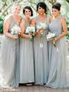 Tulle One Shoulder Floor-length A-line Ruffles Bridesmaid Dresses #PWD01013735