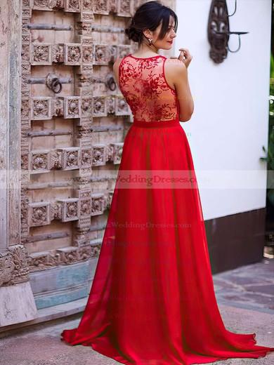 Lace Chiffon V-neck Sweep Train A-line Bridesmaid Dresses #PWD01013736