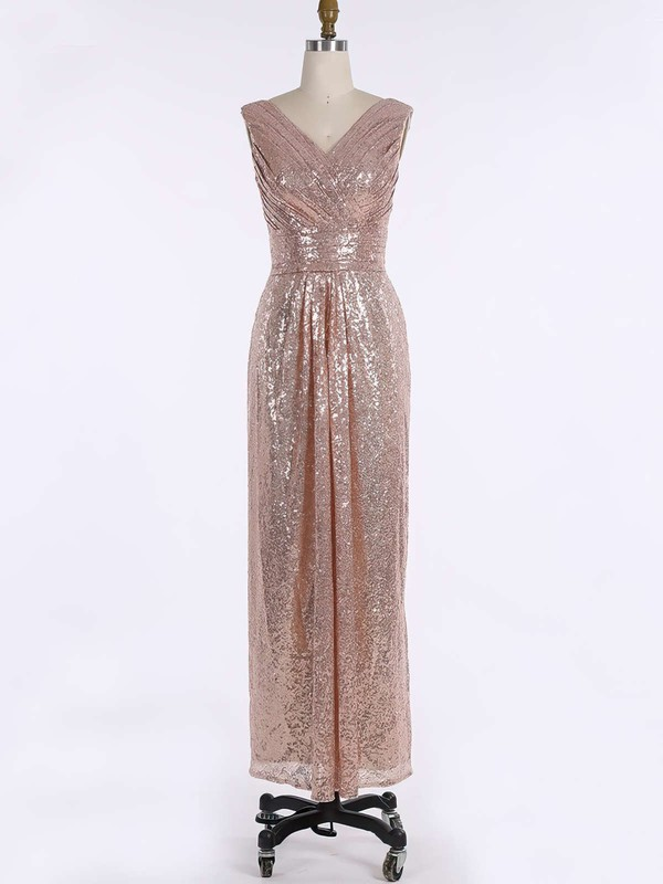 Sequined V-neck Floor-length Sheath/Column Ruffles Bridesmaid Dresses #PWD01013739