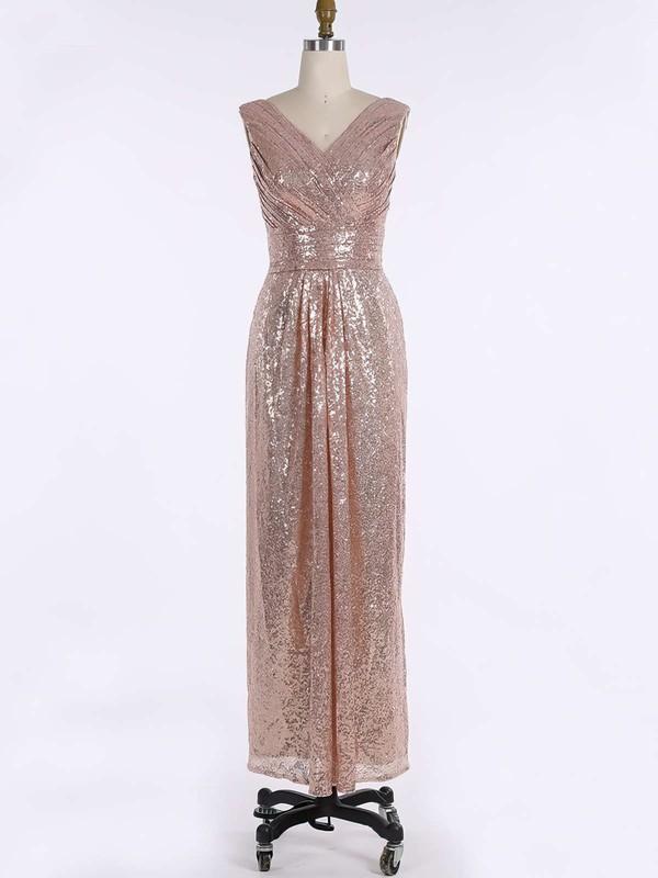 Sequined V-neck Floor-length Sheath/Column Ruffles Bridesmaid Dresses #PWD01013739