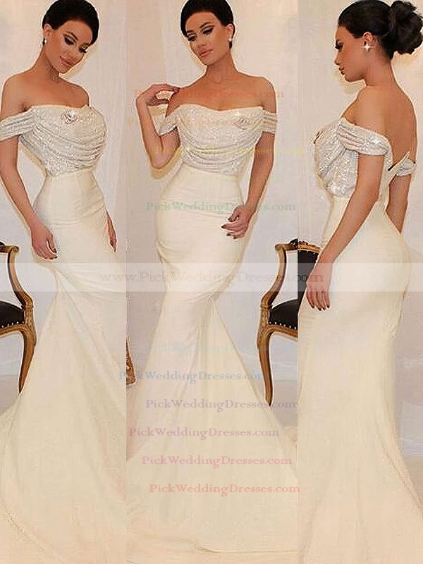 Sequined Silk-like Satin Off-the-shoulder Sweep Train Trumpet/Mermaid Ruffles Bridesmaid Dresses #PWD01013743