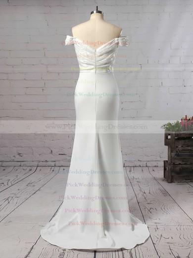 Sequined Silk-like Satin Off-the-shoulder Sweep Train Trumpet/Mermaid Ruffles Bridesmaid Dresses #PWD01013743