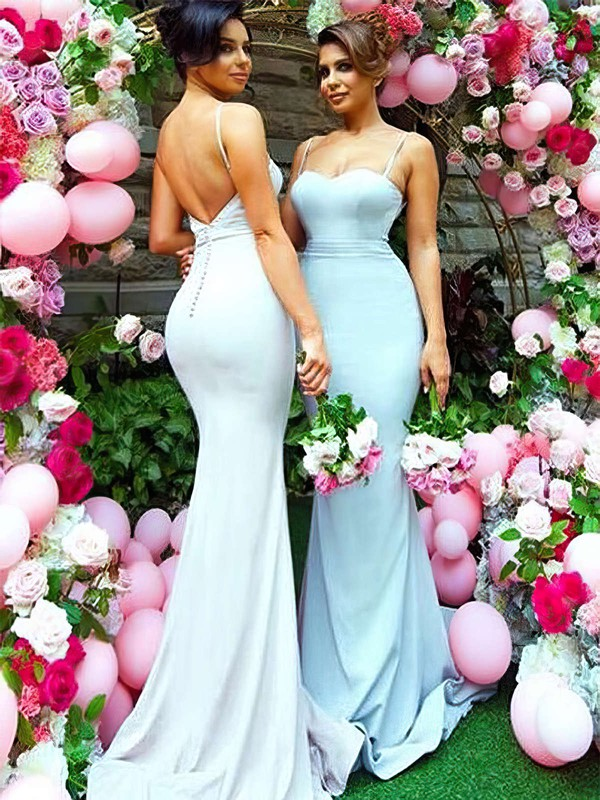 Silk-like Satin Sweetheart Sweep Train Trumpet/Mermaid Bridesmaid Dresses #PWD01013745