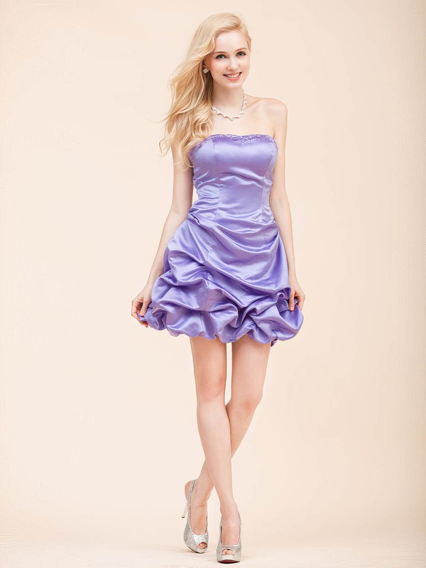 A-line Short/Mini Satin Draped Strapless Bridesmaid Dresses #PWD02022798
