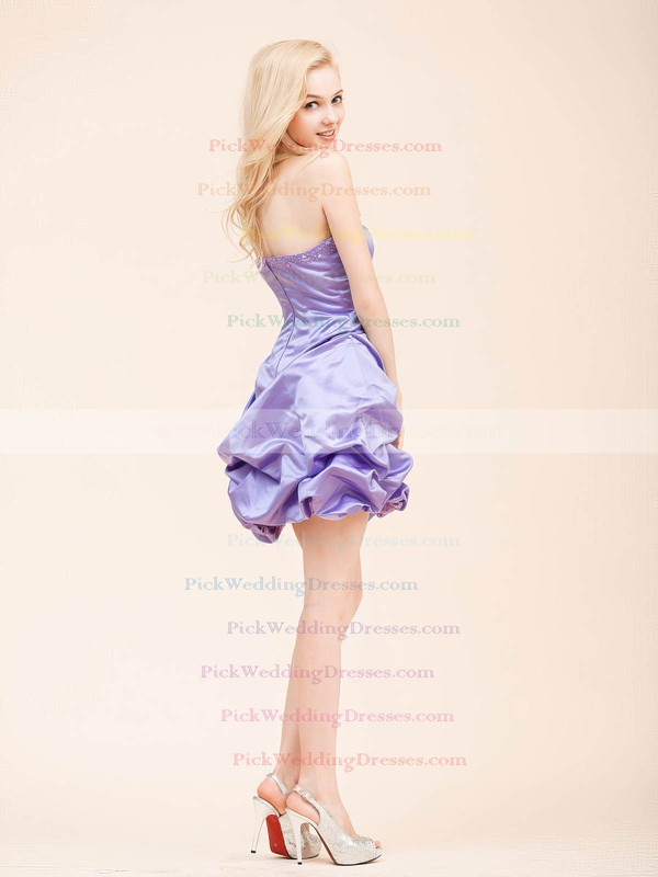 A-line Short/Mini Satin Draped Strapless Bridesmaid Dresses #PWD02022798
