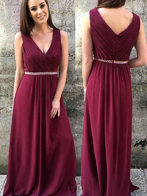 Chiffon V-neck Floor-length A-line Beading Bridesmaid Dresses #PWD01013749