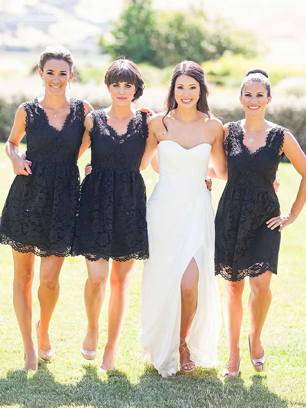 Lace V-neck Short/Mini A-line Bridesmaid Dresses #PWD01013755