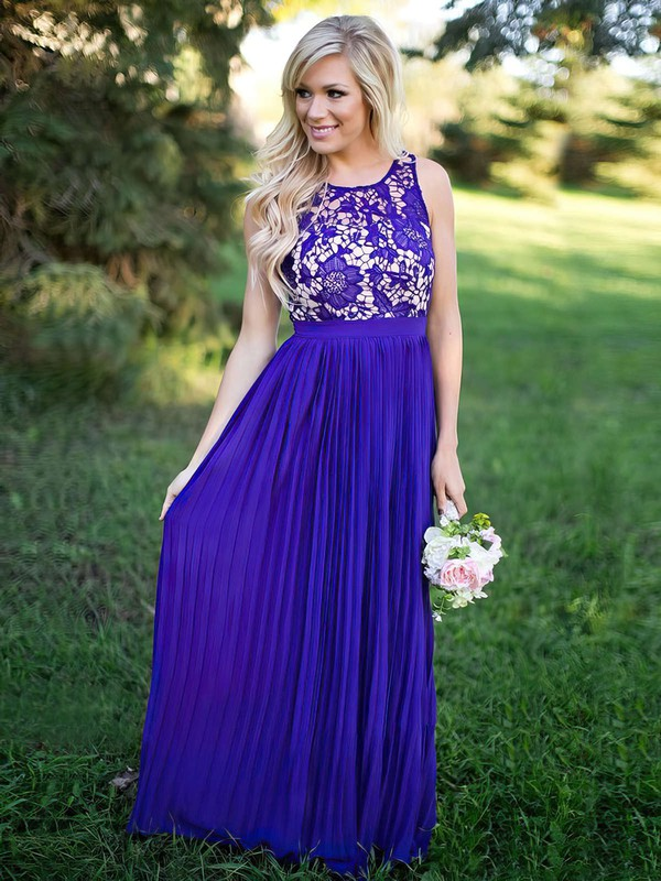 Lace Chiffon Scoop Neck Floor-length A-line Pleats Bridesmaid Dresses #PWD01013759