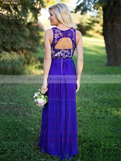 Lace Chiffon Scoop Neck Floor-length A-line Pleats Bridesmaid Dresses #PWD01013759