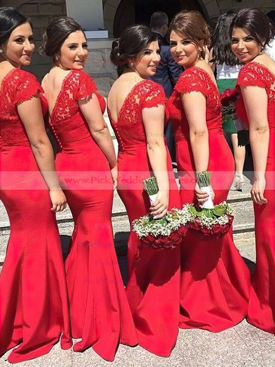 Lace Silk-like Satin V-neck Sweep Train Trumpet/Mermaid Sashes / Ribbons Bridesmaid Dresses #PWD01013737