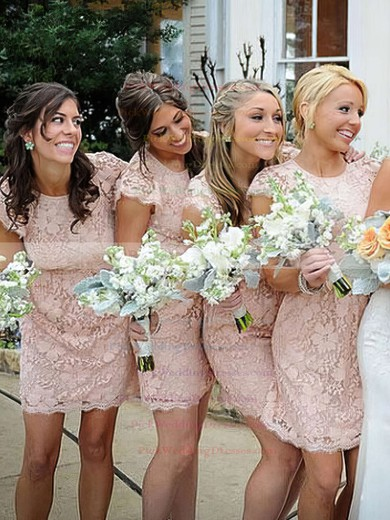 Lace Scoop Neck Short/Mini Sheath/Column Bridesmaid Dresses #PWD01013740