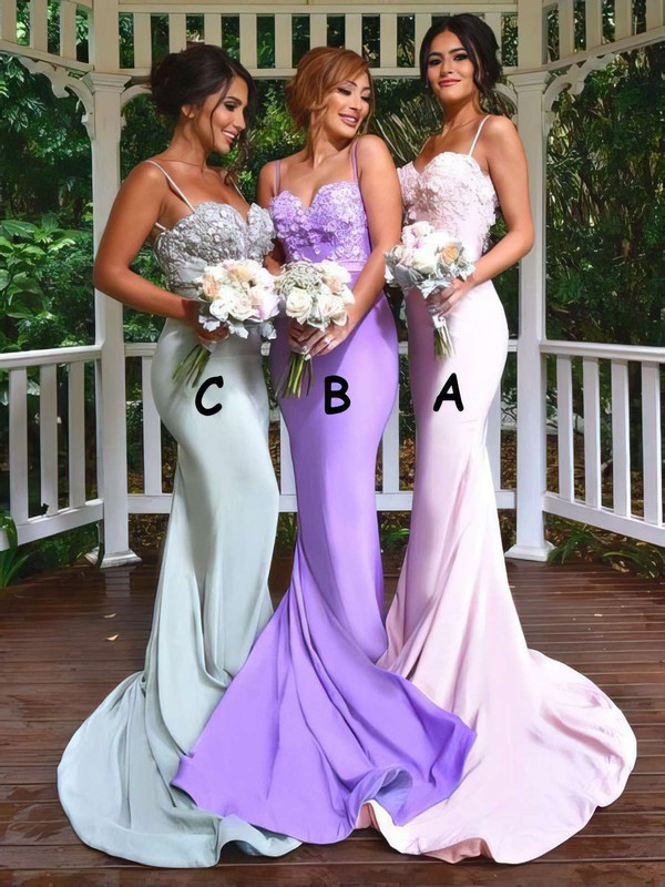 Jersey Sweetheart Sweep Train Trumpet/Mermaid Appliques Lace Bridesmaid Dresses #PWD01013742