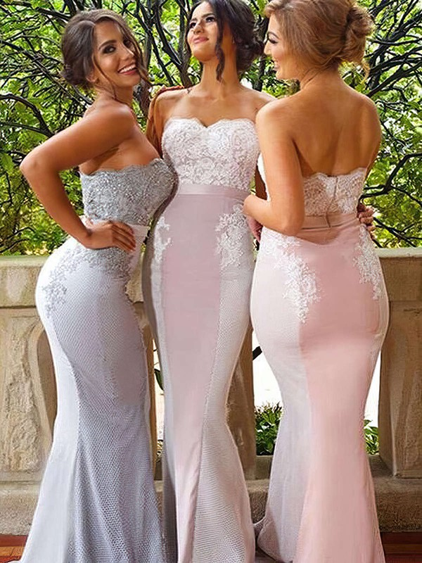 Silk-like Satin Sweetheart Sweep Train Trumpet/Mermaid Lace Bridesmaid Dresses #PWD01013744