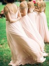 Chiffon V-neck Floor-length A-line Beading Bridesmaid Dresses #PWD01013746