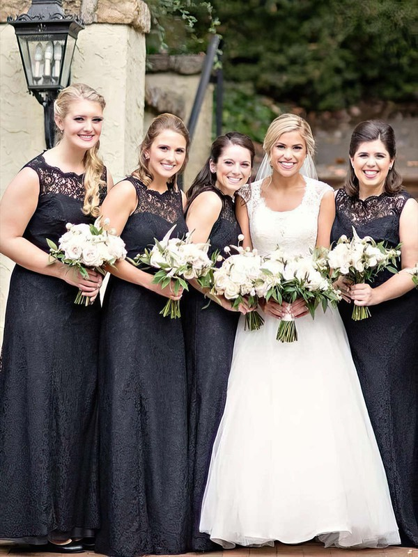 Lace Scalloped Neck Floor-length A-line Bridesmaid Dresses #PWD01013751