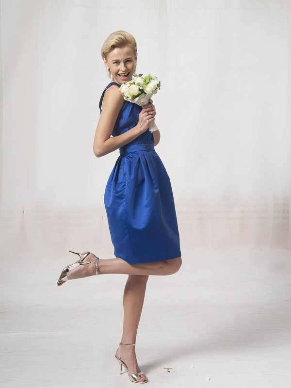 A-line Knee-length Satin Sashes/Ribbons Square Bridesmaid Dresses #PWD02022814