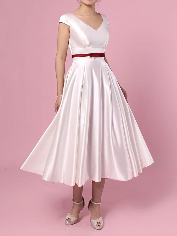 Satin V-neck Tea-length Princess Sashes / Ribbons Wedding Dresses #PWD00023271