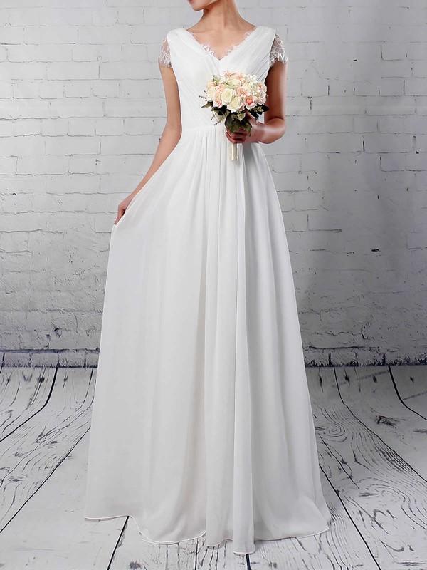 Lace Chiffon V-neck Floor-length A-line Ruffles Wedding Dresses #PWD00023283