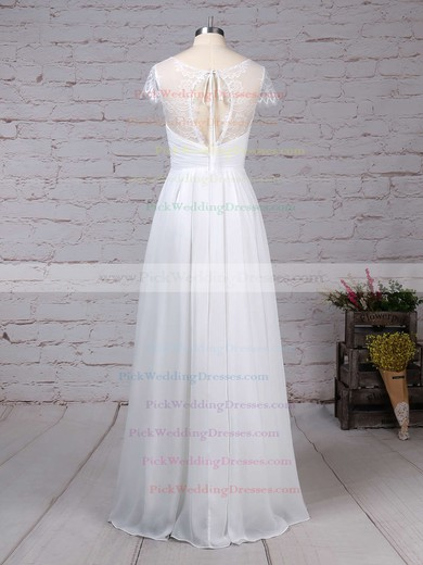 Lace Chiffon V-neck Floor-length A-line Ruffles Wedding Dresses #PWD00023283