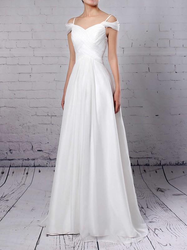 Chiffon V-neck Sweep Train Empire Ruched Wedding Dresses #PWD00023198