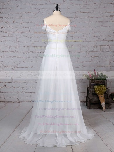Chiffon V-neck Sweep Train Empire Ruched Wedding Dresses #PWD00023198