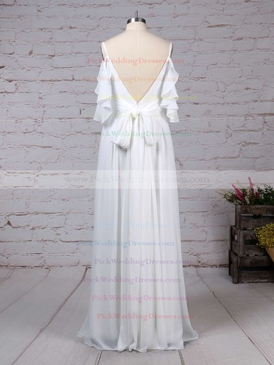 Chiffon V-neck Sweep Train A-line Sashes / Ribbons Wedding Dresses #PWD00023303