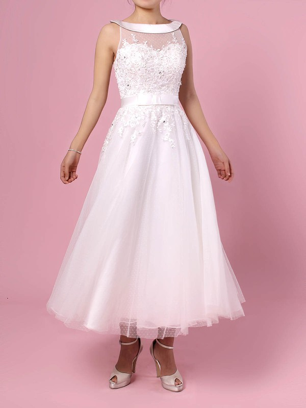 Tulle Scoop Neck Tea-length Ball Gown Beading Wedding Dresses #PWD00023272