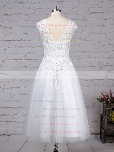 Tulle Scoop Neck Tea-length Ball Gown Beading Wedding Dresses #PWD00023274