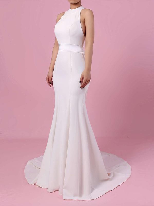 Satin Chiffon High Neck Sweep Train Trumpet/Mermaid Sashes / Ribbons Wedding Dresses #PWD00023275
