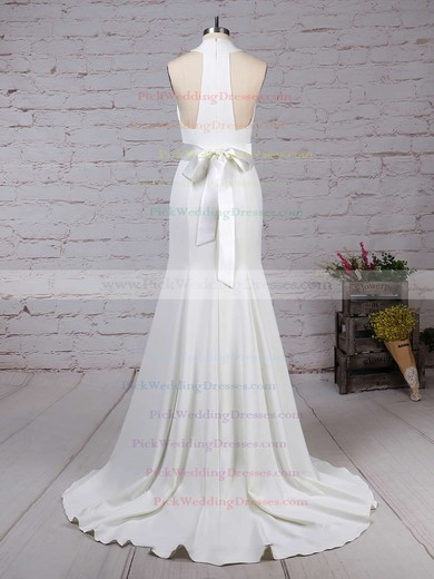 Satin Chiffon High Neck Sweep Train Trumpet/Mermaid Sashes / Ribbons Wedding Dresses #PWD00023275