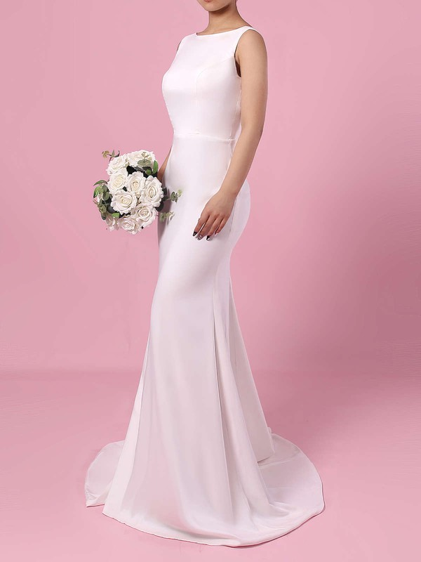 Satin Chiffon Scoop Neck Sweep Train Sheath/Column Wedding Dresses #PWD00023276