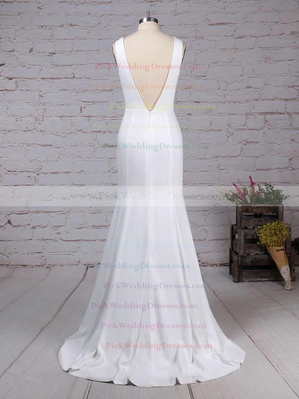 Satin Chiffon Scoop Neck Sweep Train Sheath/Column Wedding Dresses #PWD00023276