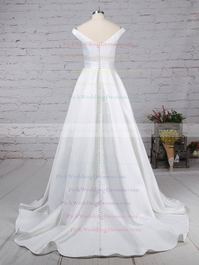 Satin Off-the-shoulder Sweep Train Ball Gown Sashes / Ribbons Wedding Dresses #PWD00023169