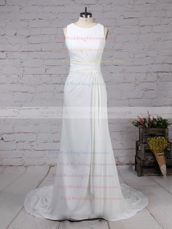 Lace Satin Chiffon Scoop Neck Sweep Train Sheath/Column Appliques Lace Wedding Dresses #PWD00023257