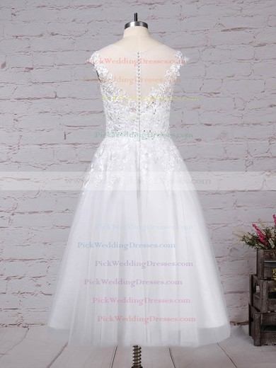 Tulle Scoop Neck Tea-length Ball Gown Beading Wedding Dresses #PWD00023268