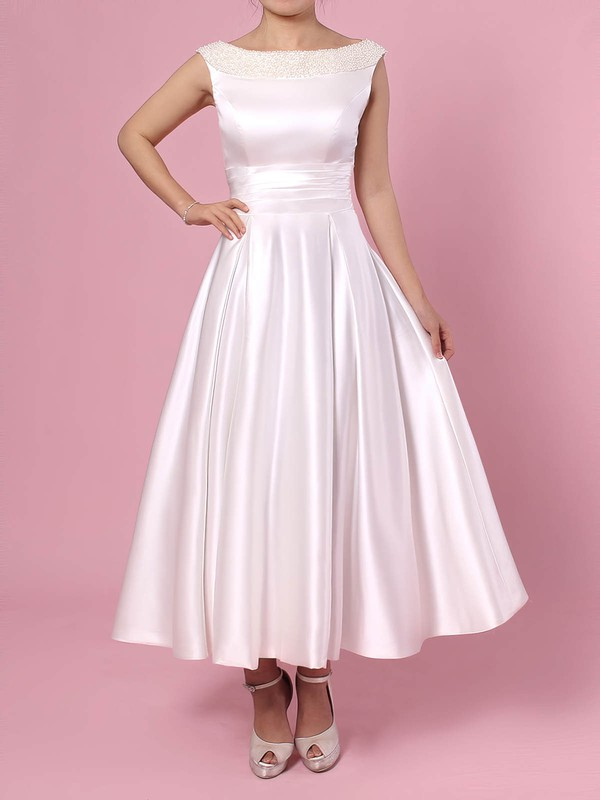 Satin Scoop Neck Tea-length Princess Bow Wedding Dresses #PWD00023269
