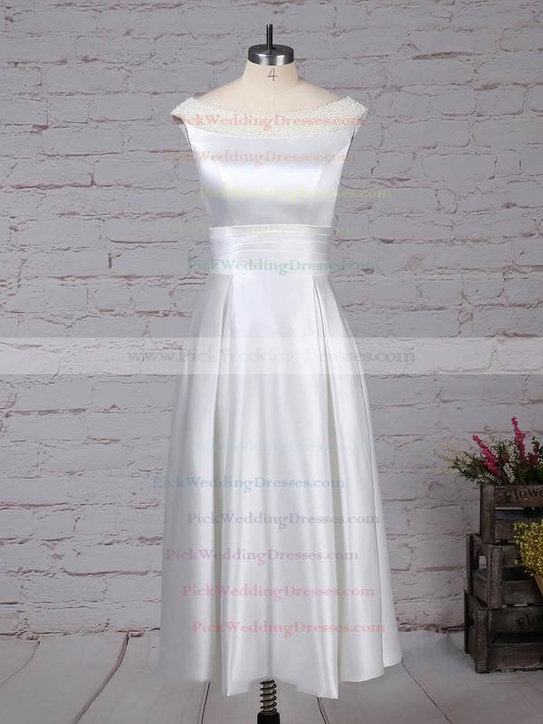 Satin Scoop Neck Tea-length Princess Bow Wedding Dresses #PWD00023269