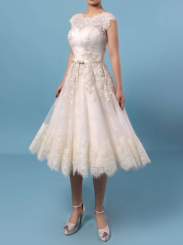 Lace Tulle Scoop Neck Knee-length A-line Appliques Lace Wedding Dresses #PWD00023302