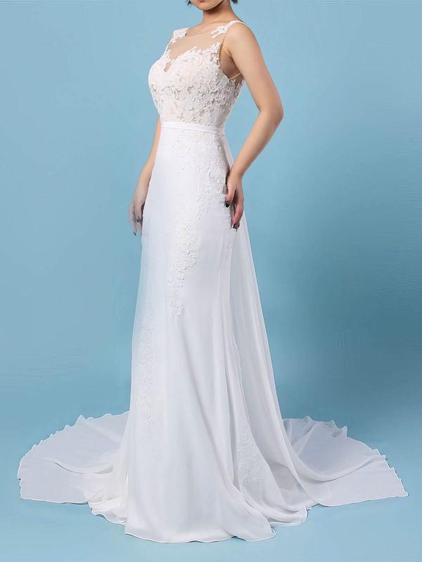 Chiffon Scoop Neck Watteau Train Trumpet/Mermaid Appliques Lace Wedding Dresses #PWD00023156