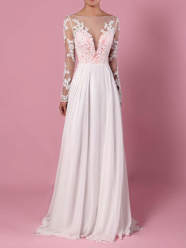 Chiffon Tulle Scoop Neck Sweep Train A-line Appliques Lace Wedding Dresses #PWD00023209