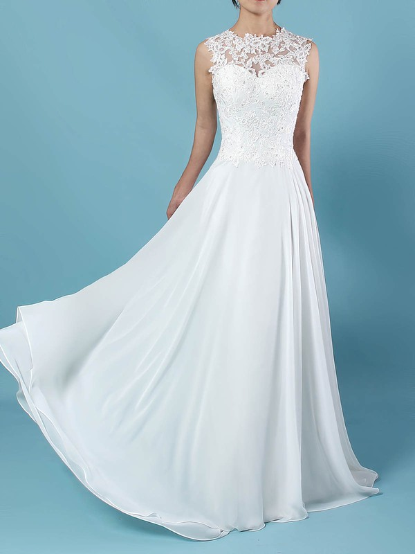 Chiffon Tulle Scoop Neck Floor-length A-line Appliques Lace Wedding Dresses #PWD00023305