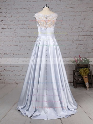 Satin Tulle Scoop Neck Floor-length Ball Gown Appliques Lace Wedding Dresses #PWD00023313