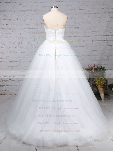 Tulle Sweetheart Sweep Train Ball Gown Sashes / Ribbons Wedding Dresses #PWD00023153