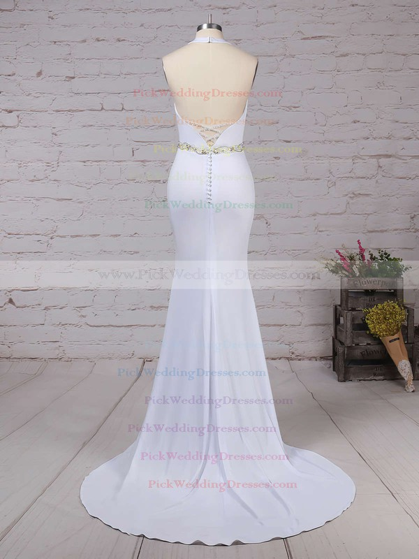 Satin Chiffon Halter Sweep Train Trumpet/Mermaid Sashes / Ribbons Wedding Dresses #PWD00023155