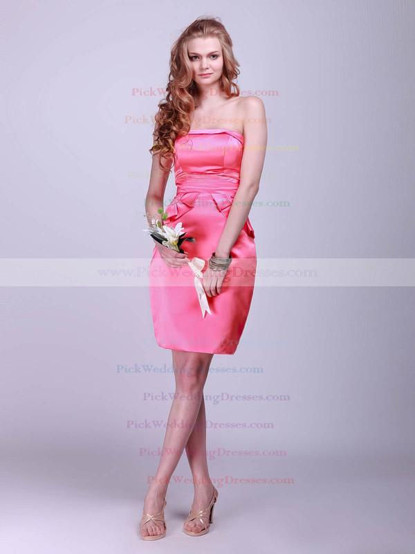 Sheath/Column Short/Mini Satin Pleats Strapless Bridesmaid Dresses #PWD02042132