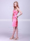 Sheath/Column Short/Mini Satin Pleats Strapless Bridesmaid Dresses #PWD02042132