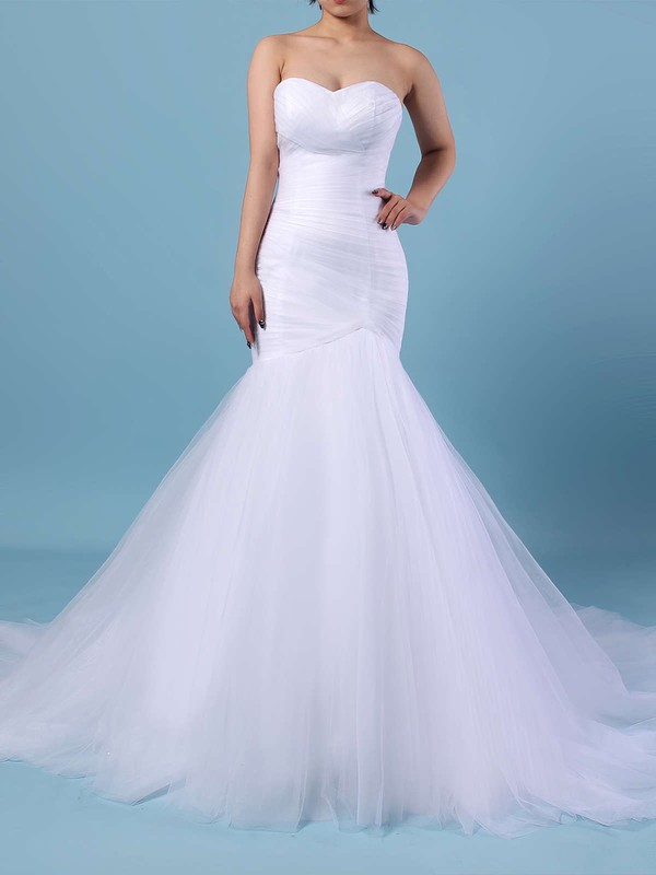 Tulle Sweetheart Sweep Train Trumpet/Mermaid Ruched Wedding Dresses #PWD00023219